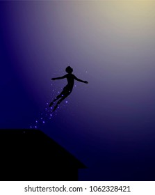 Peter Pan flies out from the roof, fairy character, man silhouette, vector