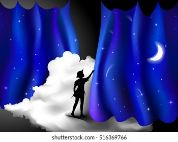 Peter Pan story, Boy standing on the cloud behind the night blue curtain, fairy night, peter pan, silhouette,