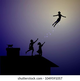 Peter Pan story, children on the roof, peter pan flies, vector