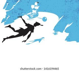 Peter Pan story, silhouette of Peter Pan over pirates island, vector illustration