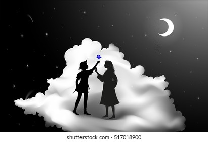 Peter Pan Story And Wendy Standing On The Cloud Fairy Night