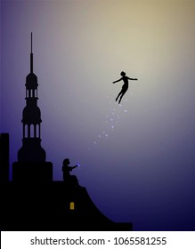 Peter Pan and Wendy on the roof, peter pan flies, couple, vector