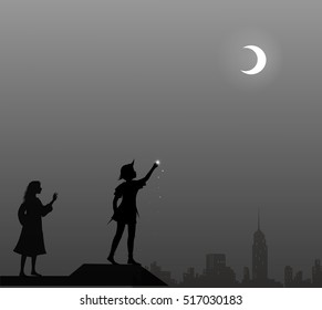 Peter Pan and Wendy on the roof, couple, vector
