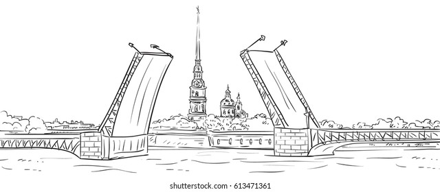 Peter and Paul Fortress. Drawbridge, symbol of Saint Petersburg, Russia. Hand drawn vector illustration. Isolated background