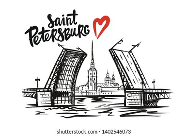 Peter and Paul Fortress. Saint Petersburg, Russia. Hand drawn