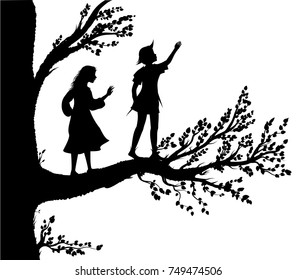 Peter and Wendy silhouette, boy and gil on the big tree,  tree of childhood, childhood memory, in the dreamland, vector.