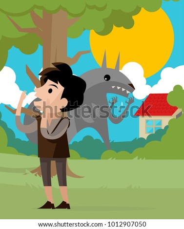 peter wolf tale character stock vector (royalty free) 1012907050
