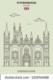 Peterborough Cathedral in Peterborough, UK. Landmark icon in linear style