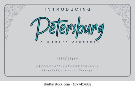 Petersburg font. Elegant alphabet letters font and number. Classic Copper Lettering Minimal Fashion Designs. Typography fonts regular uppercase and lowercase. vector illustration