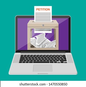 Petition box, document on laptop screen. Sign petition online. Concept of change over the Internet. Vector illustration in flat style