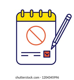 Petition color icon. Collecting signatures. Protest vote. Protest action support. Public appeal. Ballot. Isolated vector illustration