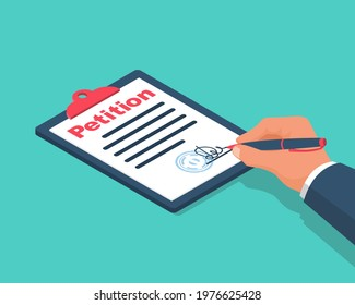 Petition concept. Businessman writes petition. Isolated icon on white background. Vector illustration isometric 3d design.