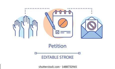 Petition concept icon. Signature collection, public opinion demonstration idea thin line illustration. Raised hands, notepad with pencil and envelope vector isolated outline drawing. Editable stroke