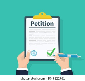 Petition concept. Man hold clipboard in hand writes Petition concept. Diagrams. Flat design, vector illustration on background