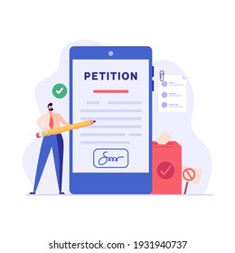 Petition form. People signing and spreading petition or complaint. Concept of Online petition, making choice, balloting Paper, democracy. Vector illustration for Web Design and Background