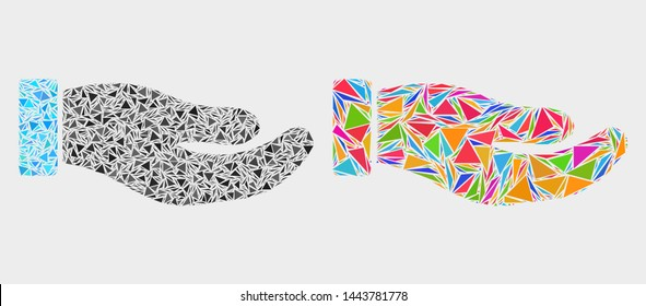 Petition hand mosaic icon of triangle items which have different sizes and shapes and colors. Geometric abstract vector design concept of petition hand.