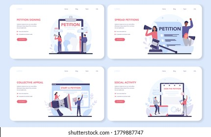 Petition web banner or landing page set. Collective public appeal document. Signing and spreading petition for changes. Document addressed to a government. Isolated flat vector illustration