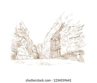 Petra. Jordan. Ancient city. Hand drawn vector illustration