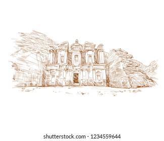 Petra. Jordan. Ancient city. Hand drawn vector illustration