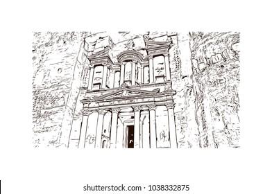 Petra in Jordan. Hand drawn sketch illustration in vector.
