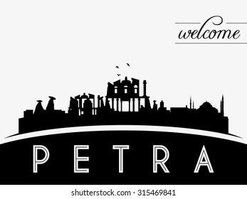 Petra Jordan skyline silhouette, black and white design, vector illustration