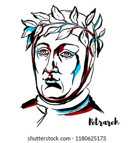 Petrarch engraved vector portrait with ink contours. Poet of Renaissance Italy who was one of the earliest humanists.