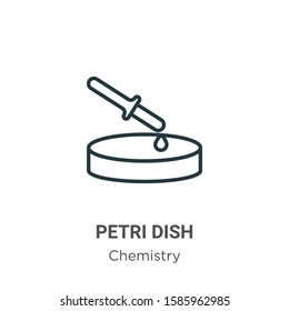 Petri dish outline vector icon. Thin line black petri dish icon, flat vector simple element illustration from editable chemistry concept isolated on white background