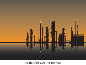 Petrochemical plant with reflection drawn as a silhouette against a night sky