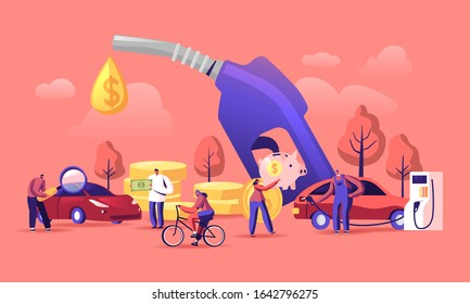 Petrol Economy Concept. Car Refueling on Fuel Station. Man Pumping Gasoline Oil. Service Filling Gas or Biodiesel Into Tank. Automotive Industry or Transportation. Cartoon Flat Vector Illustration