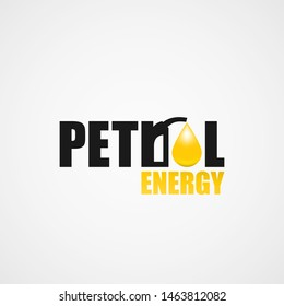 Petrol energy design icon with fuel pump and yellow 3d drop of oil fuel isolated on white background. Gas station business  logo. Vector industry illustration