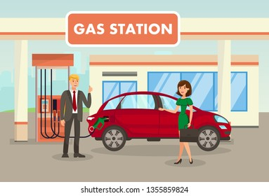 Petrol, Filling, Gas Station Vector Illustration. Man Refueling Car and Woman with Suitcase Cartoon Characters. Meeting at Gasoline Refill Center. Transport Fueling Service. Petroleum Industry