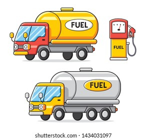 Petrol fuel tank trucks with gas pump isolated, filling station cartoon icons.