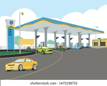 Petrol and Gas Fuel Station concept illustration