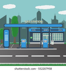 Petrol gas station concept in flat design style. Fuel and energy, pump and car, transportation industry. Vector illustration