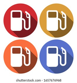 Petrol or Gas station sign icon. Car fuel symbol. Circle buttons with long shadow. 4 icons set. Vector