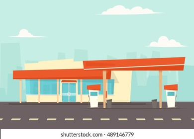 petrol and gas station vector with pump fuel.
