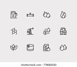 Petrol icons set with oil industry market, oil gas fossil and oil pump station. Set of petrol icons also including petrol factory sign for your web app logo UI design.