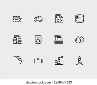 Petrol icons set. Oil pump and petrol icons with oil drop, tanker ship and oil warehouse. Set of renewable for web app logo UI design.