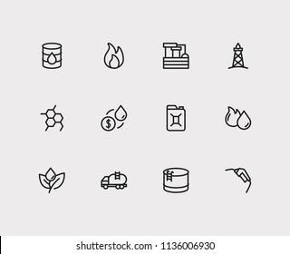Petrol icons set. Plant and petrol icons with oil chemical reaction, tanker truck and gasoline pump nozzle. Set of light for web app logo UI design.