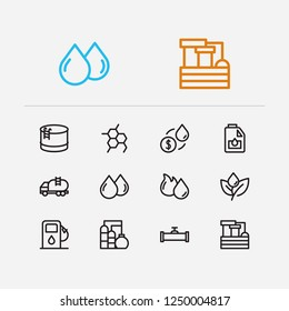Petrol icons set. Plant and petrol icons with oil market, petrol station and oil pipeline. Set of barrel for web app logo UI design.