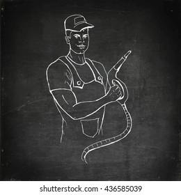Petrol operator illustration. Hand drawn vector stock illustration. Chalk board drawing