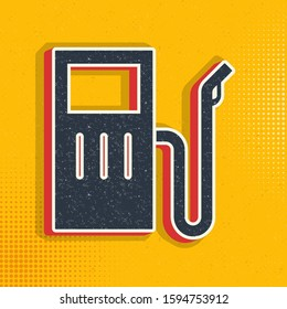 Petrol pop art, retro icon. Vector illustration of pop art style