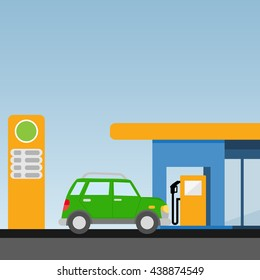 Petrol station. The car at the gas station