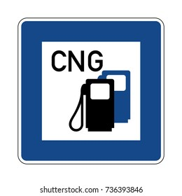 Petrol station with CNG, German traffic sign