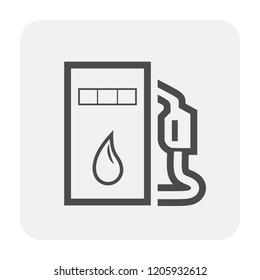 Petrol station and equipment icon design, black and outline.