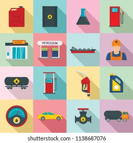 Petrol station gas fuel shop icons set. Flat illustration of 16 petrol station gas fuel shop vector icons for web