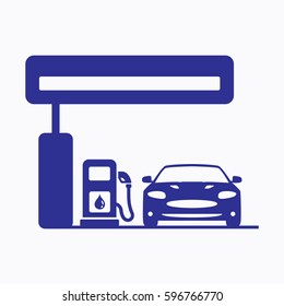 Petrol Station Icon. Flat Graphic Vector Gas Pump and Car Symbol Design