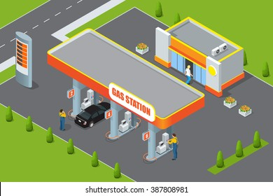 Petrol station. Refilling, cleaning, shopping service.