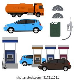 Petrol station set vector design. Flat illustration with cars. Fuel canister.