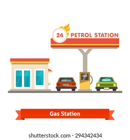 Petrol station with two cars. Flat vector illustration isolated on white background.